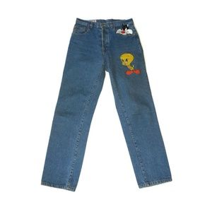 vtg 1992 SYLVESTER & TWEETY Embroidered Jeans 30